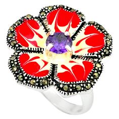 Natural purple amethyst marcasite enamel 925 silver flower ring size 5.5 a43576