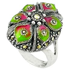 Multi color enamel 925 sterling silver ring jewelry size 6.5 a43855