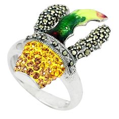 925 sterling silver natural lemon topaz marcasite enamel ring size 6.5 a43997