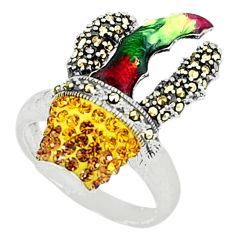 Natural yellow topaz marcasite enamel 925 sterling silver ring size 7.5 a44002