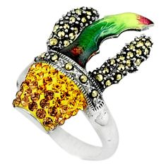 Natural yellow topaz marcasite enamel 925 sterling silver ring size 7.5 a44009