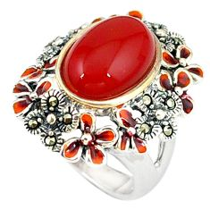 Natural honey onyx marcasite enamel 925 silver ring jewelry size 6.5 a44191