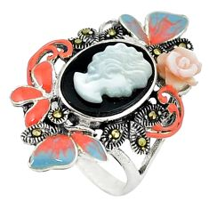 Natural blister pearl onyx enamel 925 sterling silver ring size 6.5 a44226