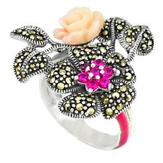 Red ruby quartz marcasite enamel 925 sterling silver ring size 6.5 a44601