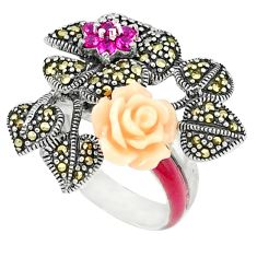 1.03cts natural red ruby quartz marcasite enamel 925 silver ring size 6.5 a44677