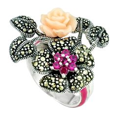 1.05cts red ruby quartz marcasite enamel 925 silver flower ring size 6.5 a44685