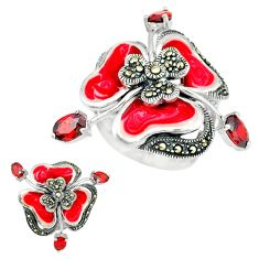 3.32cts natural red garnet marcasite enamel 925 silver ring size 6.5 a44700