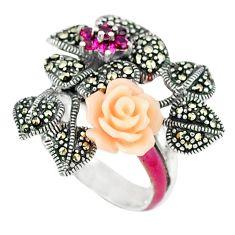 Red ruby quartz marcasite enamel 925 silver flower ring size 6.5 a44713