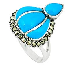 6.16cts blue sleeping beauty turquoise marcasite 925 silver ring size 7.5 a44751