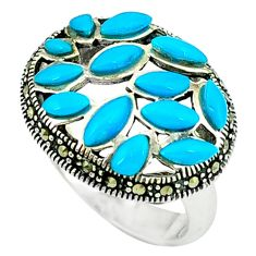 4.07cts blue sleeping beauty turquoise marcasite 925 silver ring size 6.5 a44803