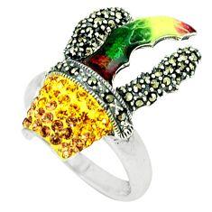 2.99cts natural lemon topaz marcasite enamel 925 silver ring size 6.5 a44810