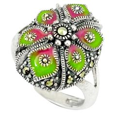 7.02gms marcasite enamel 925 sterling silver ring jewelry size 6.5 a44883