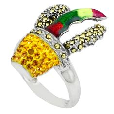 2.90cts natural lemon topaz marcasite enamel 925 silver ring size 7.5 a44909