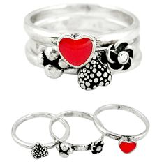 Stackable red coral enamel 925 sterling silver heart 3 rings size 6.5 a45324