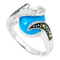 4.38cts blue sleeping beauty turquoise marcasite 925 silver ring size 7 a45495