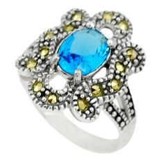 2.19cts natural blue topaz marcasite 925 sterling silver ring size 7 a45522