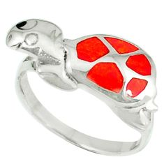 3.48gms red coral onyx enamel 925 sterling silver tortoise ring size 7 a45902