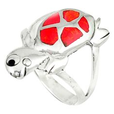 3.48gms red coral onyx enamel 925 sterling silver tortoise ring size 7 a45966