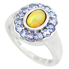 925 silver natural multi color ethiopian opal ring jewelry size 6.5 a46717