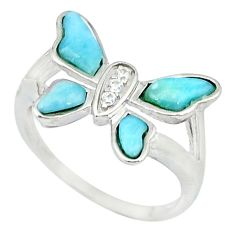 Natural blue larimar topaz 925 silver butterfly ring jewelry size 8 a46875