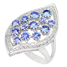 Natural blue tanzanite 925 sterling silver ring jewelry size 7.5 a47191