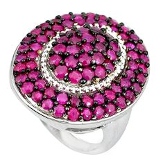 Natural red ruby round 925 sterling silver ring jewelry size 5.5 a47310