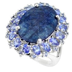 Natural black onyx blue tanzanite 925 sterling silver ring size 6.5 a47313