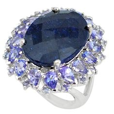 Natural black onyx oval tanzanite 925 sterling silver ring size 5 a47339