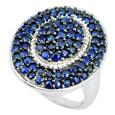 Natural blue sapphire round 925 sterling silver ring jewelry size 7.5 a47342
