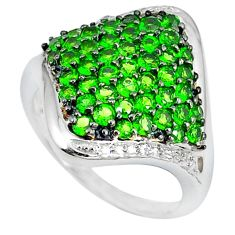 Natural green chrome diopside 925 sterling silver ring size 9 a47355