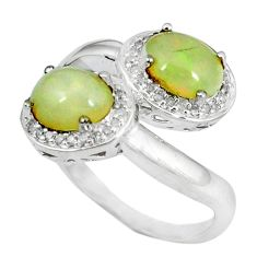 925 silver natural white diamond multi color ethiopian opal ring size 7 a47360