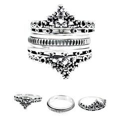 Crown bali style solid 925 silver stackable band 3 rings size 7.5 a47822