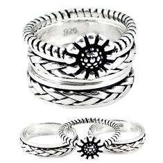 925 silver indonesian bali style solid stackable band 3 rings size 8.5 a47844