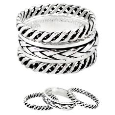 Indonesian bali style solid 925 silver stackable band 3 rings size 8 a47850