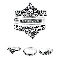 Crown bali style solid 925 silver stackable band 3 rings size 9.5 a47855