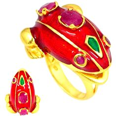 Handmade thai natural red ruby 925 silver 14k gold frog ring size 7 a48395