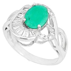 Natural green emerald topaz 925 sterling silver ring size 7.5 a48489