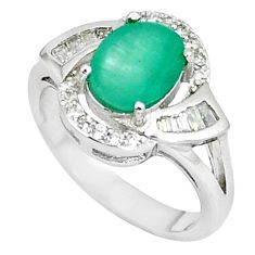 Natural green emerald oval topaz 925 sterling silver ring size 6.5 a48526