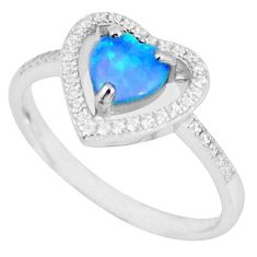 925 silver natural blue australian opal (lab) topaz ring jewelry size 8 a48839