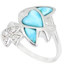 Natural blue larimar topaz 925 sterling silver fish ring jewelry size 7.5 a48919