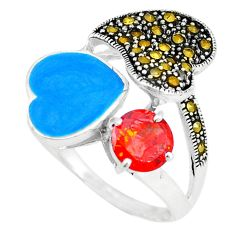 Clearance Sale-Natural red garnet marcasite enamel 925 sterling silver ring size 8.5 a49038