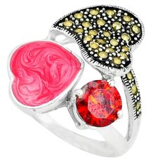 Clearance Sale-Natural red garnet marcasite enamel 925 sterling silver ring size 7 a49056