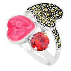 Clearance Sale-Natural red garnet round marcasite enamel 925 silver ring size 8.5 a49069