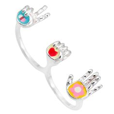 Clearance Sale-Multi color enamel 925 sterling silver two finger couple ring size 8 a49097