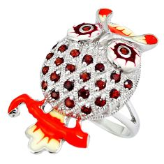 Clearance Sale-Natural red garnet enamel 925 sterling silver owl ring jewelry size 9 a49320