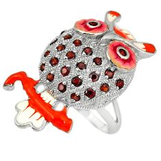 Clearance Sale-Natural red garnet enamel 925 sterling silver owl ring jewelry size 8 a49369