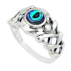 Clearance Sale-Green abalone paua seashell 925 sterling silver ring size 7.5 a49517