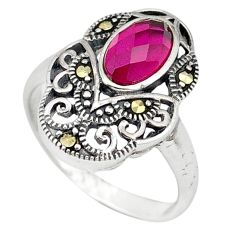 Clearance Sale-Red ruby quartz marcasite 925 sterling silver ring jewelry size 8.5 a50449