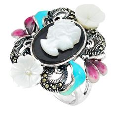 Clearance Sale-Natural blister pearl marcasite enamel 925 silver ring jewelry size 7.5 a50823