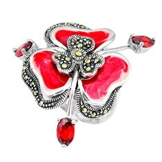 Clearance Sale-Natural red garnet marcasite enamel 925 silver ring jewelry size 5.5 a50830